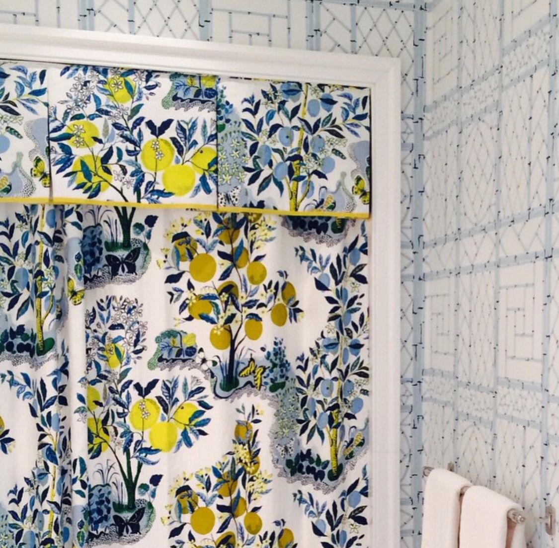 Yellow and blue shower curtain - Schumacher Citrus Garden Pool Shower Curtain With Valance And Yellow Trim