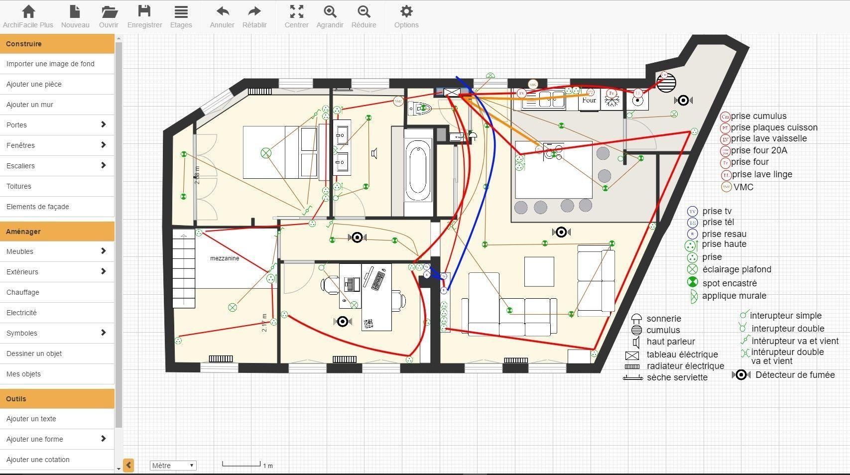 Realiser Un Plan De Maison Lectrique Et Sch Ma D Une Avec ArchiFacile in 2020 | Electrical plan ...