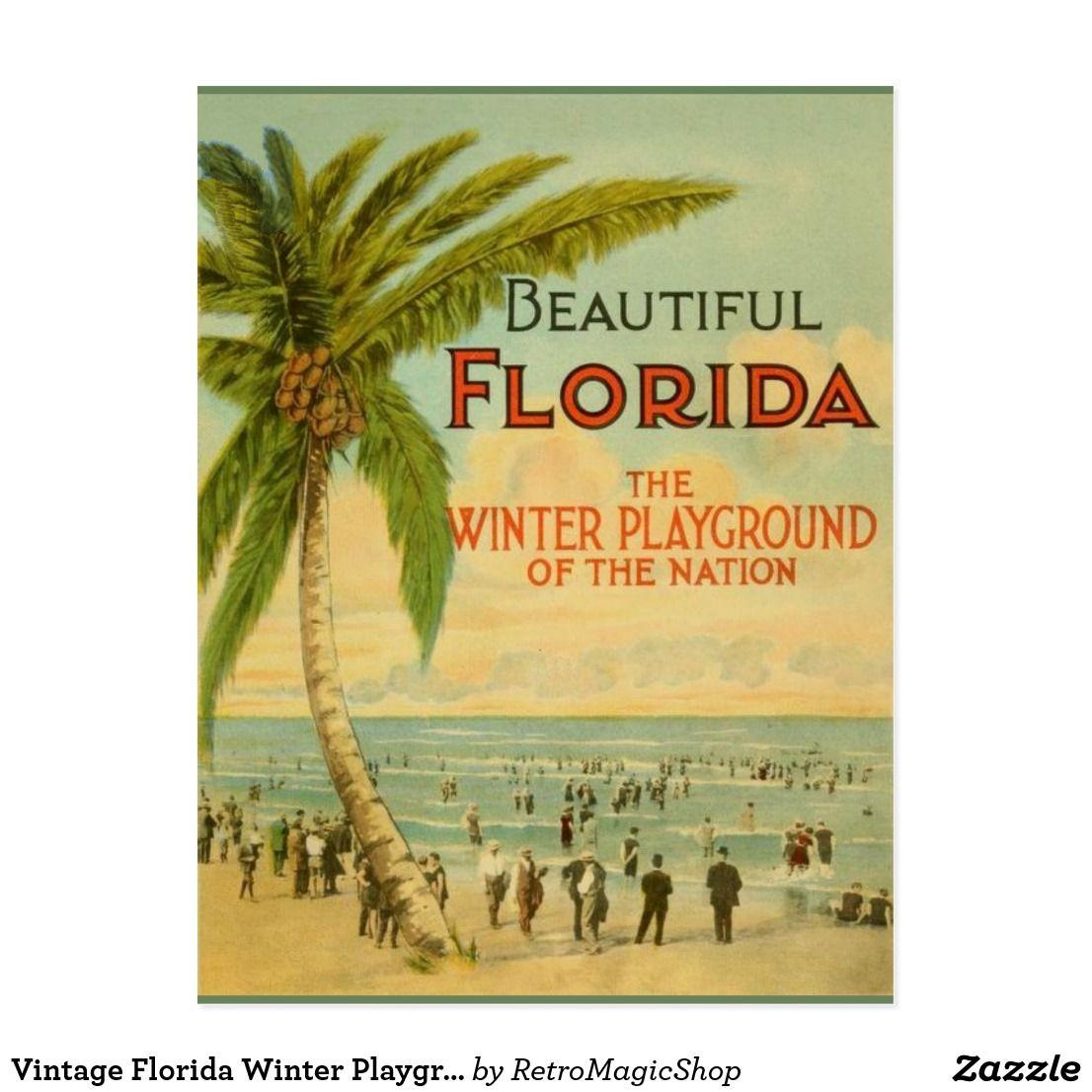 Vintage Florida Winter Playground Postcard Zazzle Com Florida Poster Vintage Florida Travel Posters