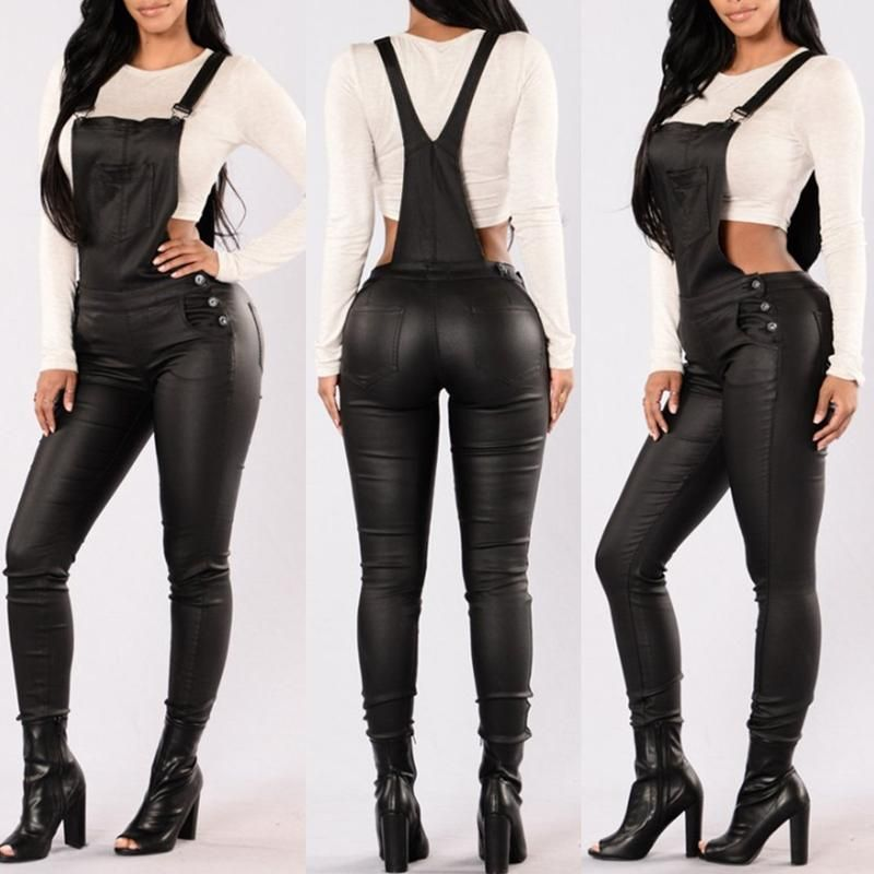 Trendy PU Leather Overalls Jumpsuit