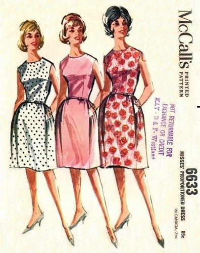 McCall's 6633 TNT Bell Skirted Dress 1962