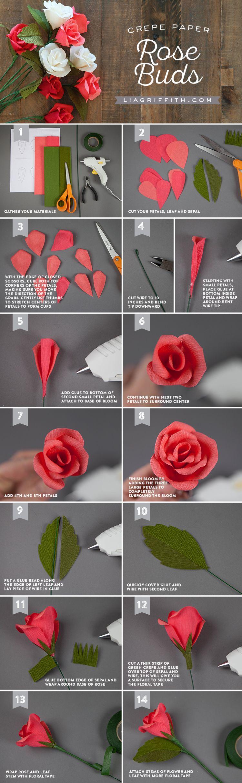 Handmade Crepe Paper Rose Buds Tutorial Paper Roses Crepe Paper