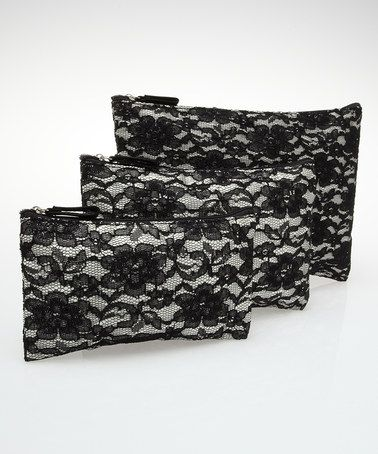 Take a look at this Black Lace Cosmetic Bag - Set of Three by Mia on #zulily today!