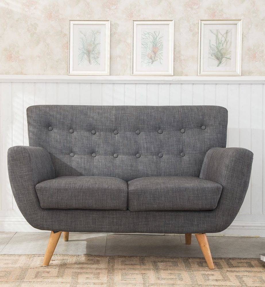 Astonishing Grey Sofa Furniture 2 Seater Retro Living Room Fabric Wood Home Interior And Landscaping Transignezvosmurscom