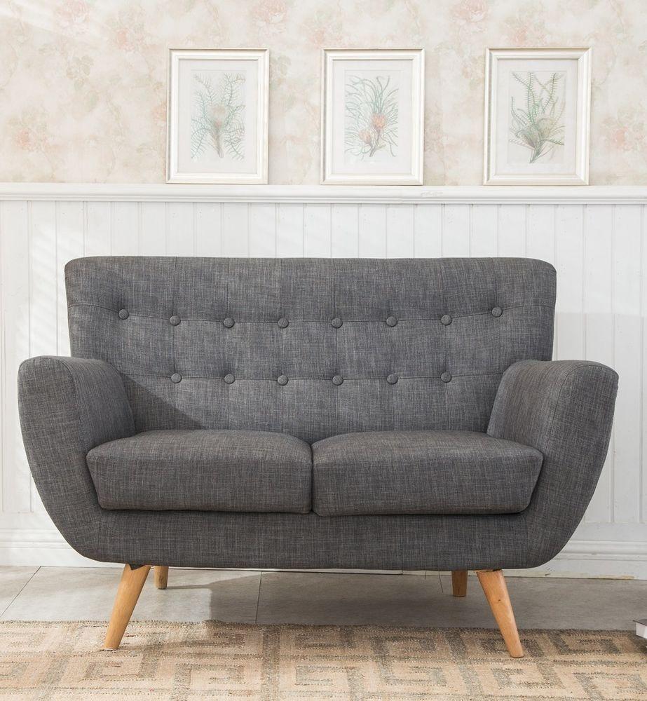 Astonishing Grey Sofa Furniture 2 Seater Retro Living Room Fabric Wood Home Interior And Landscaping Mentranervesignezvosmurscom