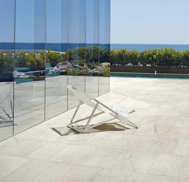 Baldosa para pavimento de exterior de gres porcel nico for Ceramica pared exterior