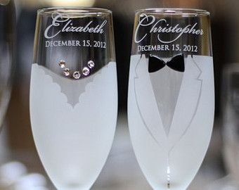 Personalized Wedding Gift Toasting Gles Pair Bride And
