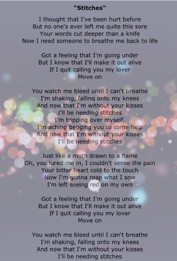 Stitches By Shawn Mendes Shawn Mendes Song Lyrics Shawn Mendes