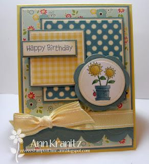 Flower Pot- love this layout for small stamps!