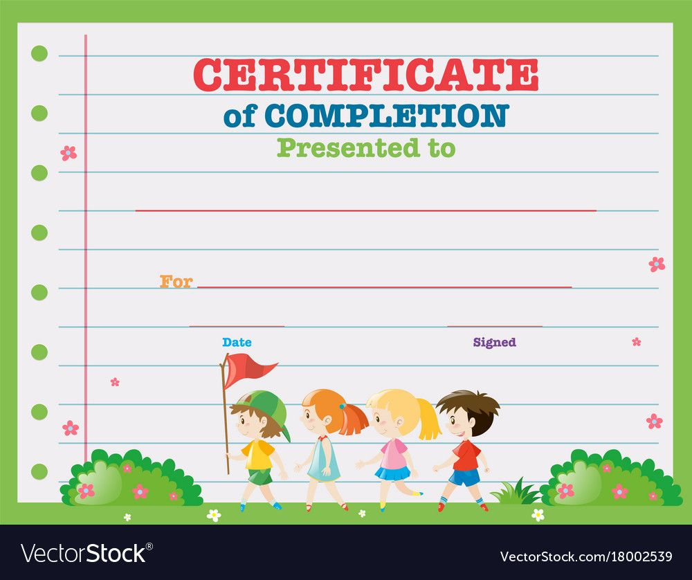 Certificate Template With Kids Walking In The Park With