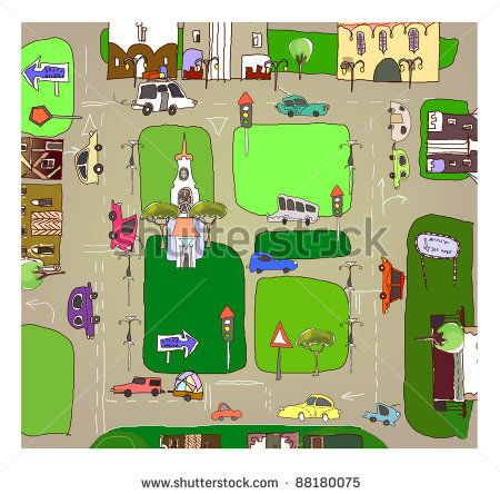 City map (background) - stock vector