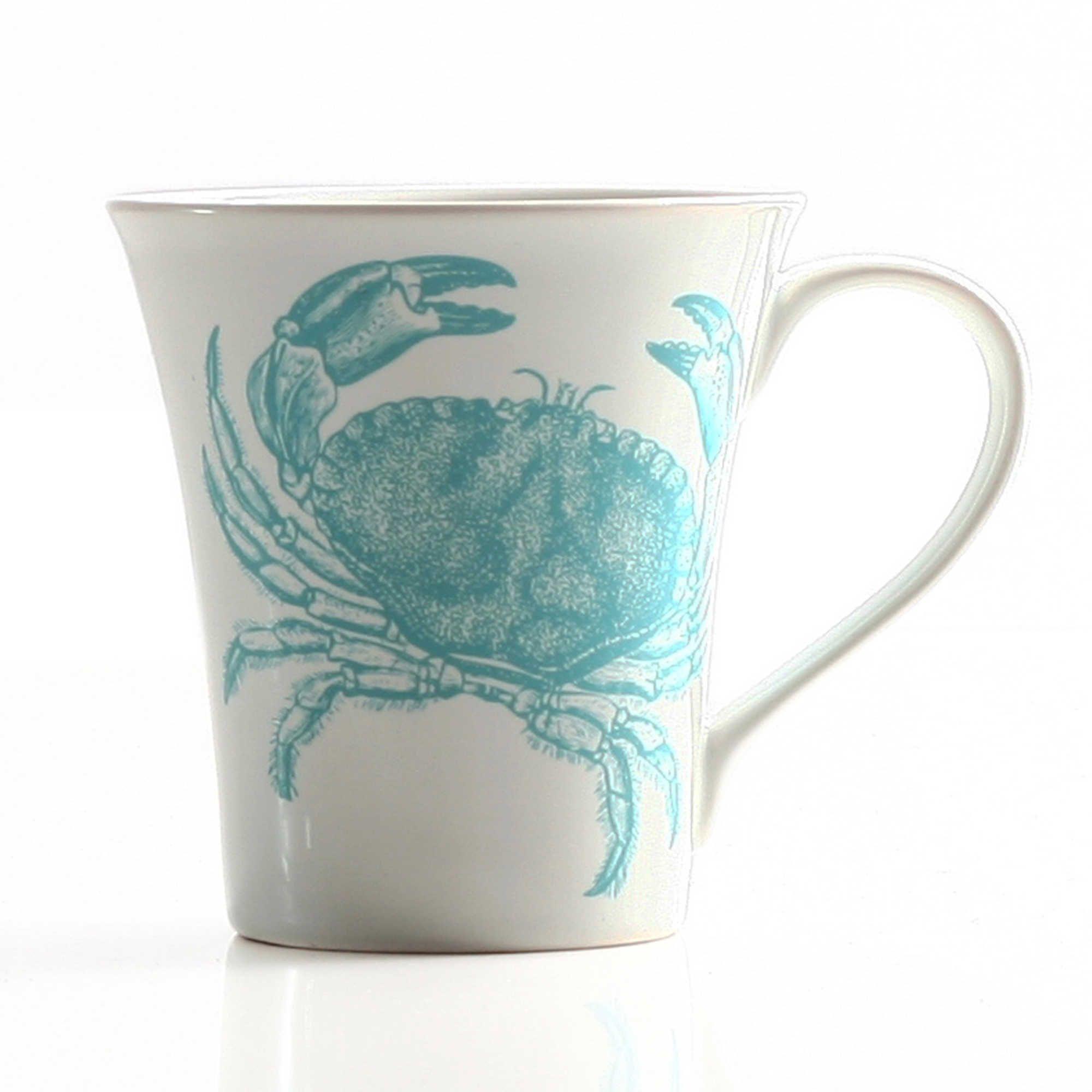 Coastal life crab mug in teal blue mugs painted coffee