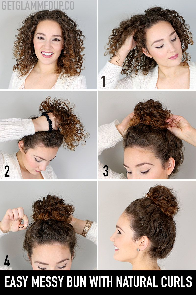 Easy messy bun hairstyle tutorial for natural curls in 12  Easy