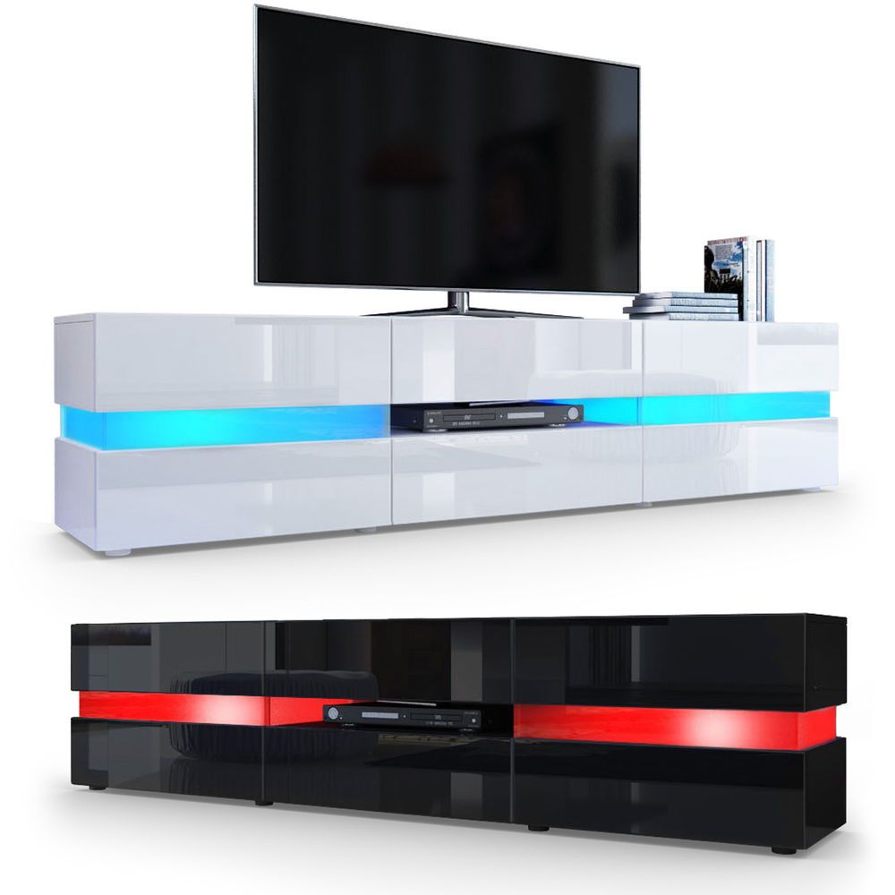 Tv Cabinet Stand Board Unit Lowboard Rack Flow In White Or Black  # Meuble Tv Philips