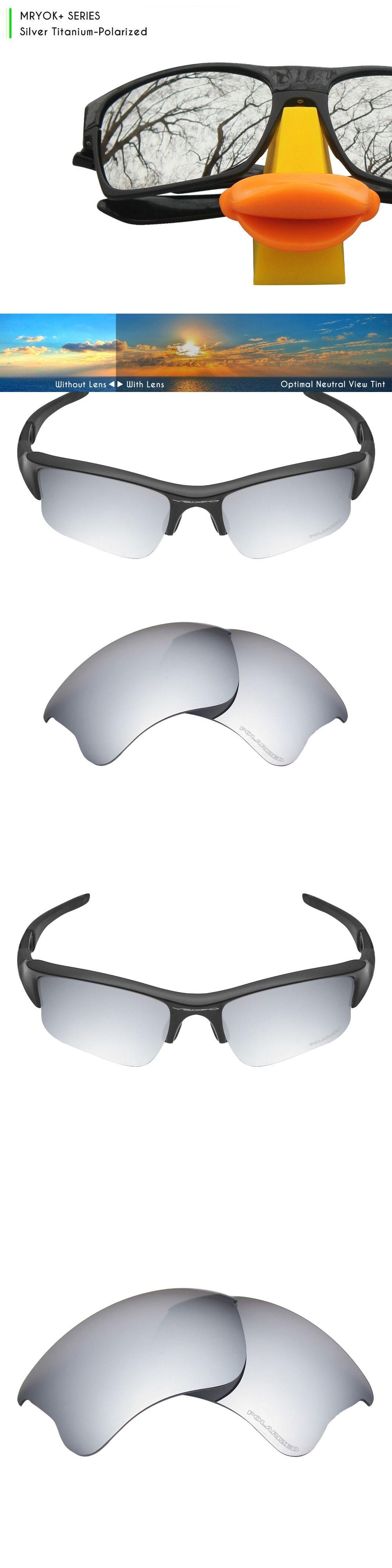 b9686ed87ffd9 Mryok+ POLARIZED Resist SeaWater Replacement Lenses for Oakley Flak Jacket  XLJ Sunglasses Silver Titanium