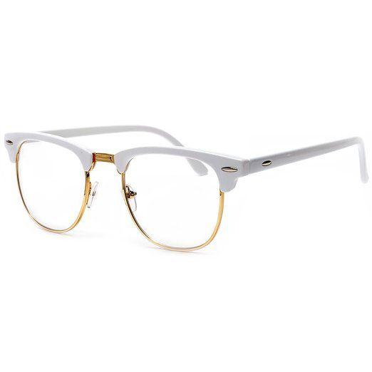 d9a1fd88db Sunglass Spot-Retro Half Frame Simi-Rimless White Browline Gold Wire Trim  Clear Lens