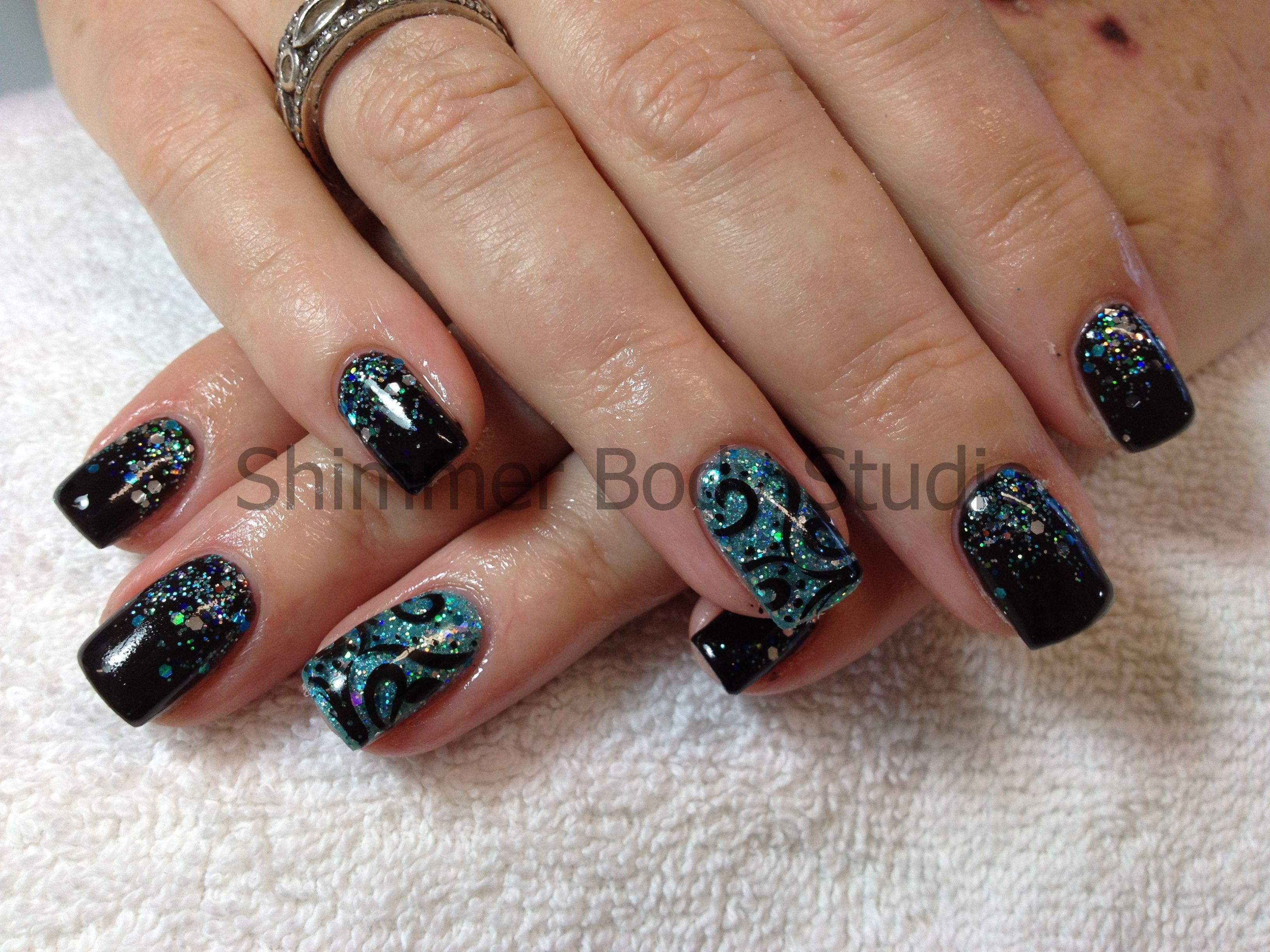Gel nails, black gel nails, glitter fade nail art, glitter feature ...