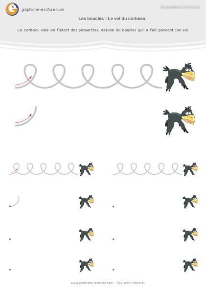 Pdf fiche graphisme moyenne section les boucles a partir du vol du corbeau dessiner des - Dessiner un oiseau en maternelle ...