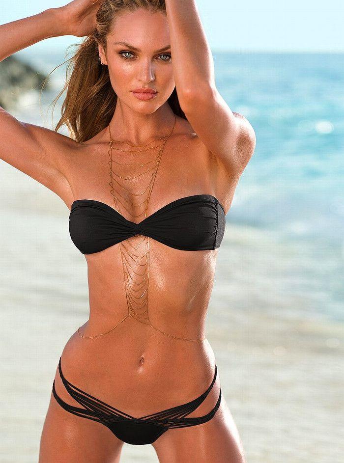 eef6bbe4287e ... Necklace Waist Rock New. Candice Swanepoel black bikini