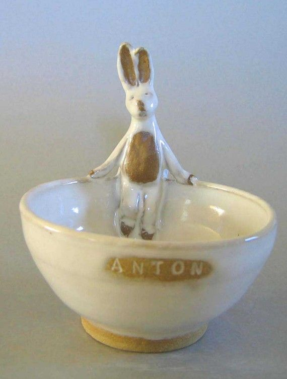 Ceramic Baby Bowl by Animals in my Soup. Very cute & Custom Handmade - Animals In My Soup -bowls - Bunny Chick Doggie ...
