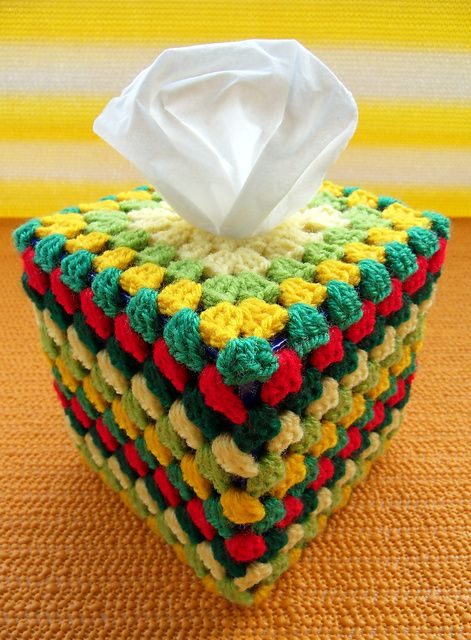 Granny\'s Tissue Box Cover: free pattern | Crochet Coasters, Covers ...