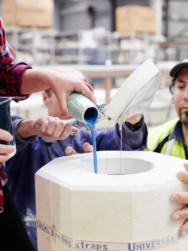 Vase Making Process Kate Pours The Glaze Into The Vase Mould Do