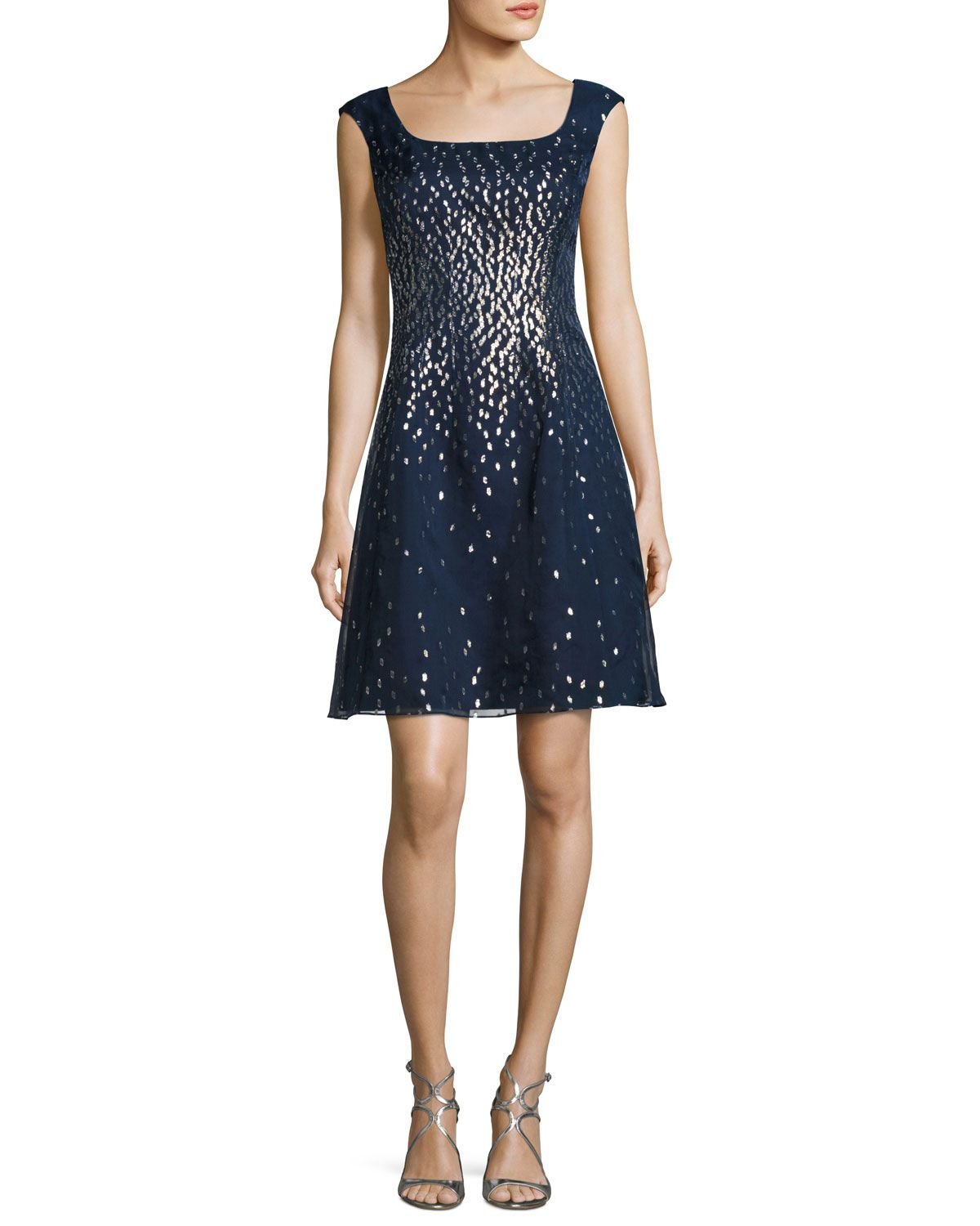Kay unger new york embellished organza fitandflare dress navy