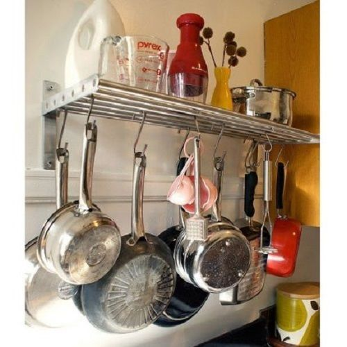 Ikea kitchen shelf rail hooks set stainless steel pot pan for Ikea grundtal spice rack