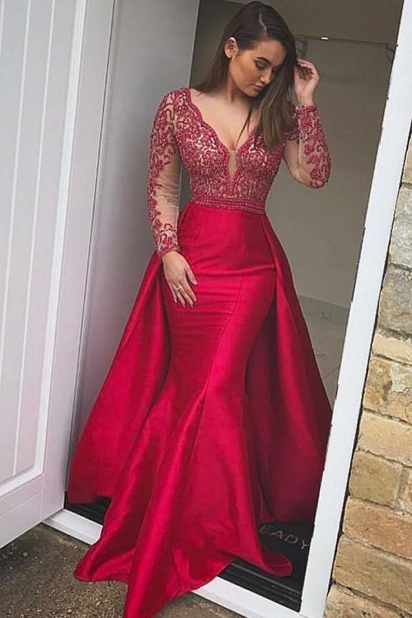 9052aef164 Long Sleeves Red Mermaid V-neck Simple Sheath Cheap Long Prom Dresses Z0840