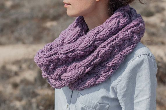 Chunky Infinity Cowl  Hand Knitted Scarf  Pink  Old rose by mosgos, $90.00