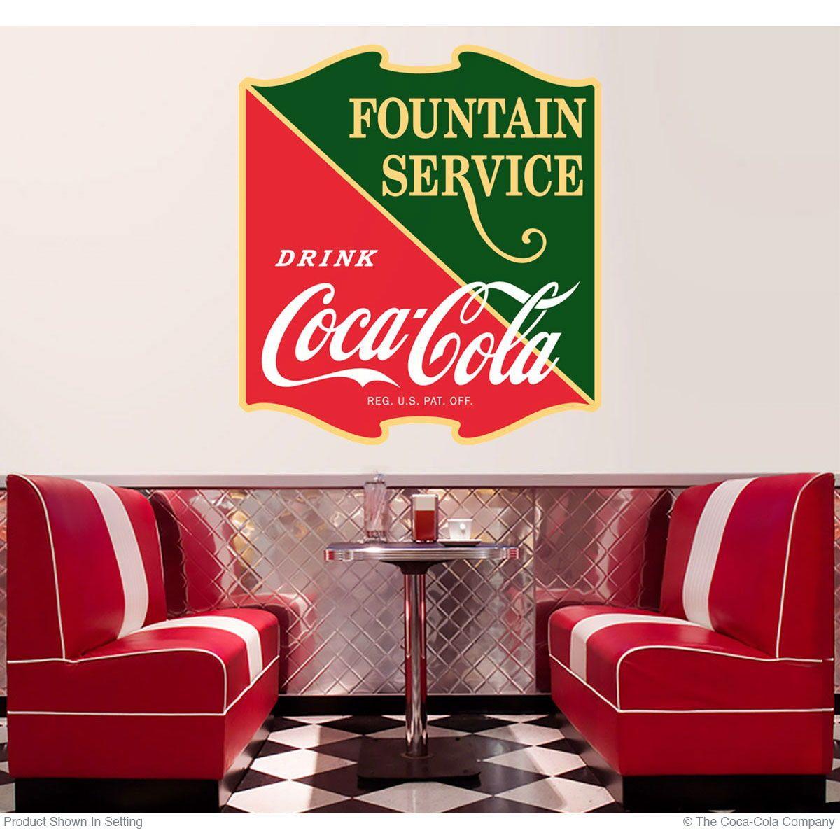 Coca-Cola Cop Crossing Guard Wall Decal 12 x 24 Vintage Style Coke Kitchen Decor