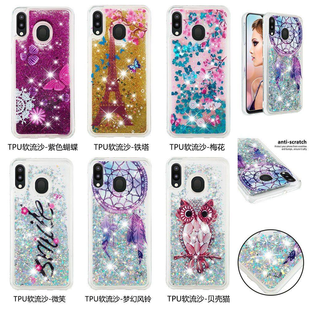 Cute Glitter Liquid Case For Coque Samsung Galaxy M20 Case ...