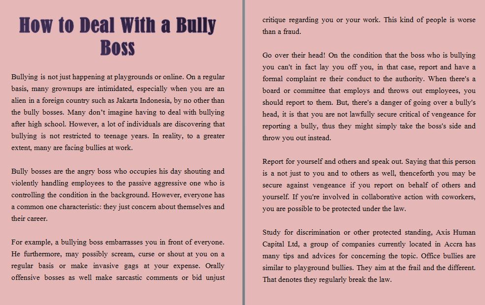 How To Deal With A Bully Boss Http Www Axishcl Com Bullying Is Not Just Happening At Playgrounds Or Online On A Reg Bully Boss After High School Bullying