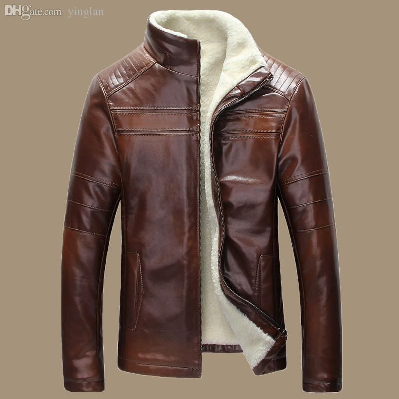 Leather Men Warm Retro Winter New Genuine Mens Fall Jacket Brown qZpwE
