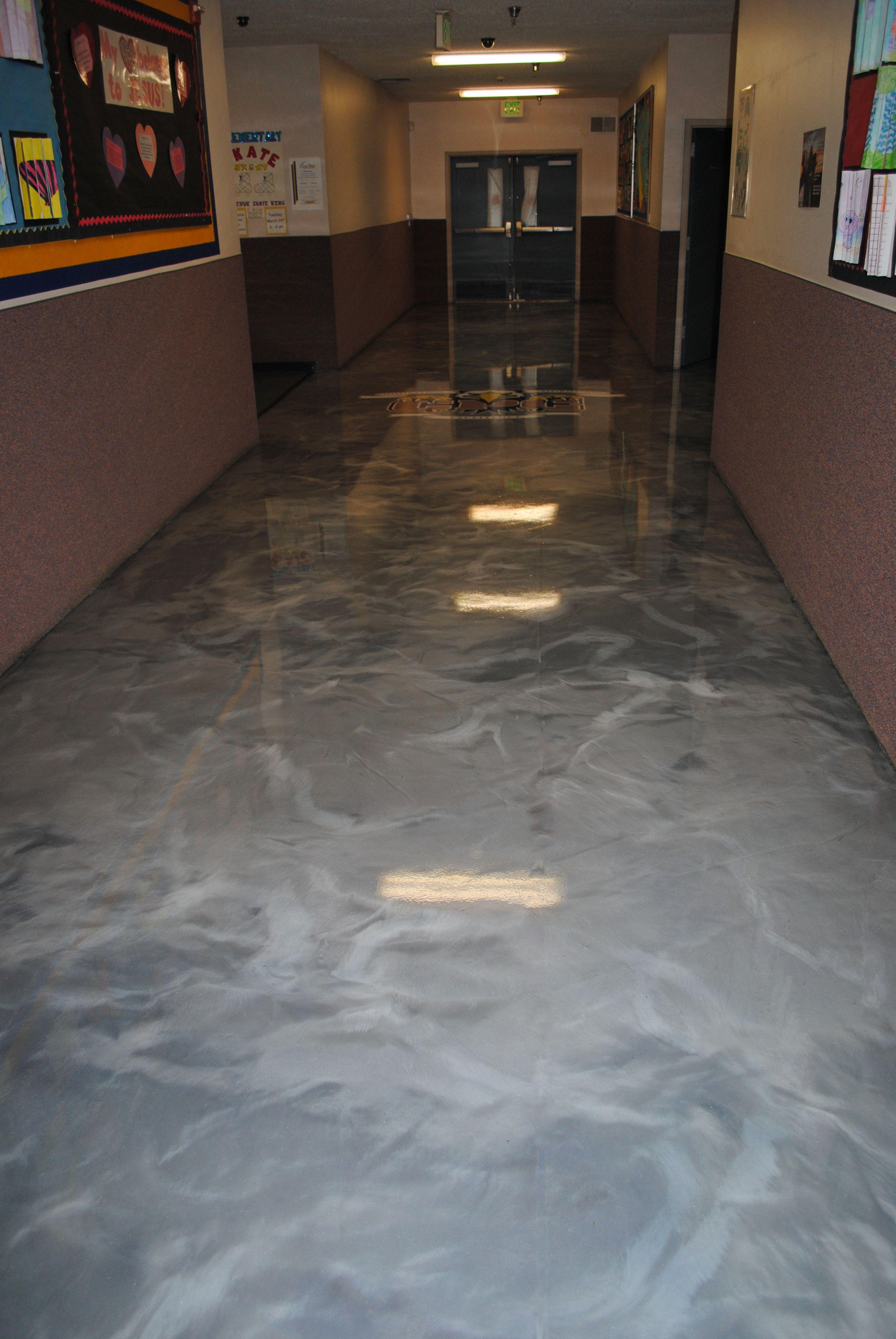 Designer Metallic Epoxy Floor In A School Building Metallicepoxy