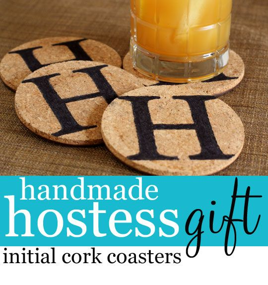 semi handmade hostess gift, crafts, Embellish cork coaster with your own design