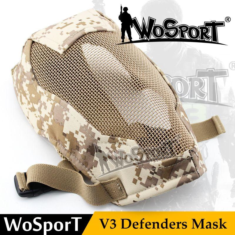 Wosport tactische paintball masker ademend metalen staal netto mesh prop war game militaire volgelaatsmasker paintball accessoires