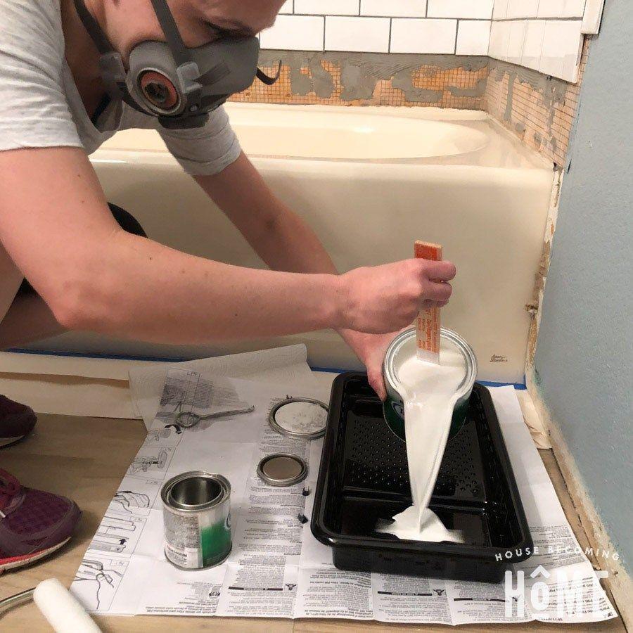 How To Paint A Bathtub Diy Bathtub Bathtub Cleaning Tips Bathroom Renovation Diy