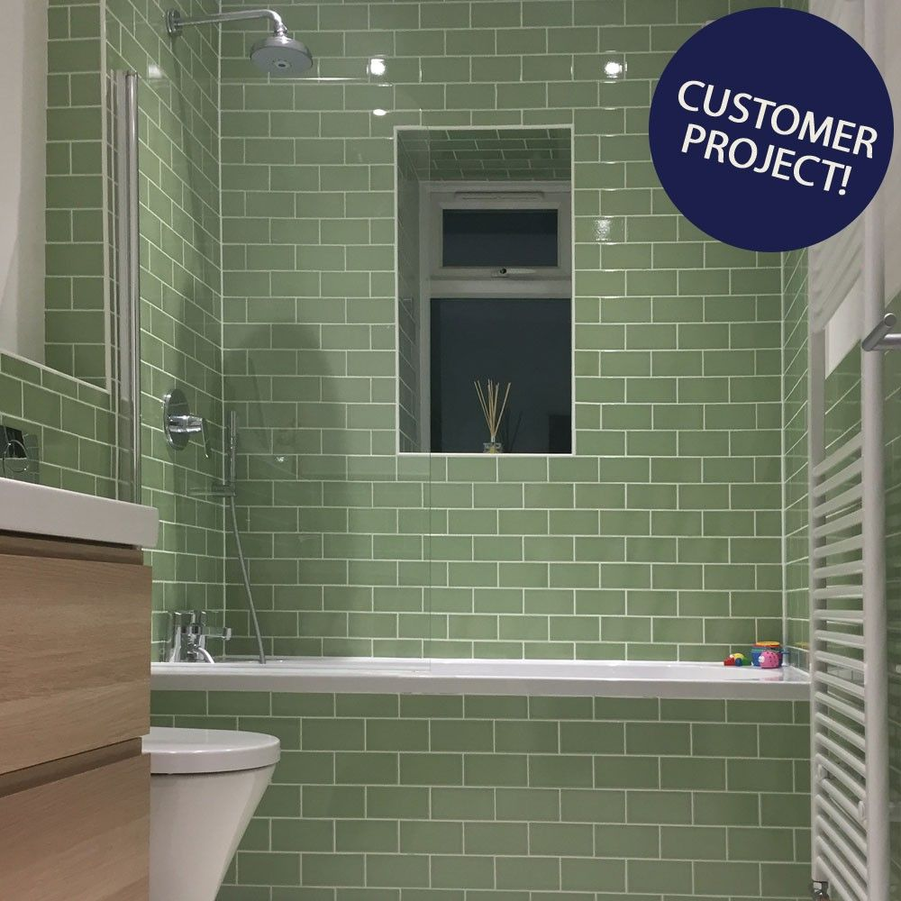 Le Vert De Maisons Green Crackle Metro Tiles Antique