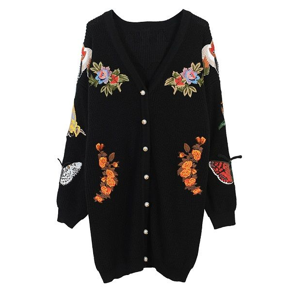 a518938882b Indie Designs Gucci Inspired Oversize Embroidered Wool Cardigan ...