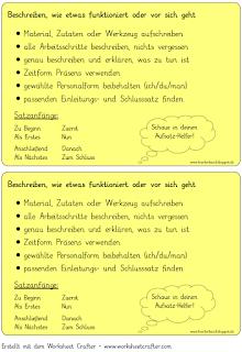 Checkliste Zur Vorgangsbeschreibung Vorgangsbeschreibung Deutsch Unterricht Deutsche Schule