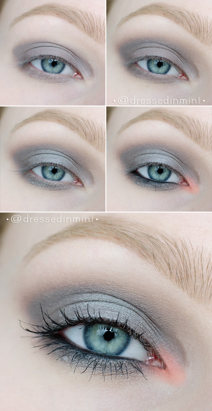 make up. - gray smoky with coral accent / step by step