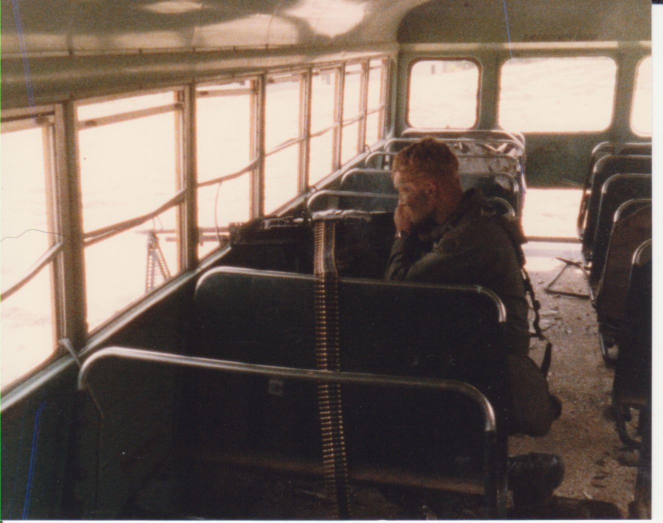 Firing position inside school bus at MOUT city.