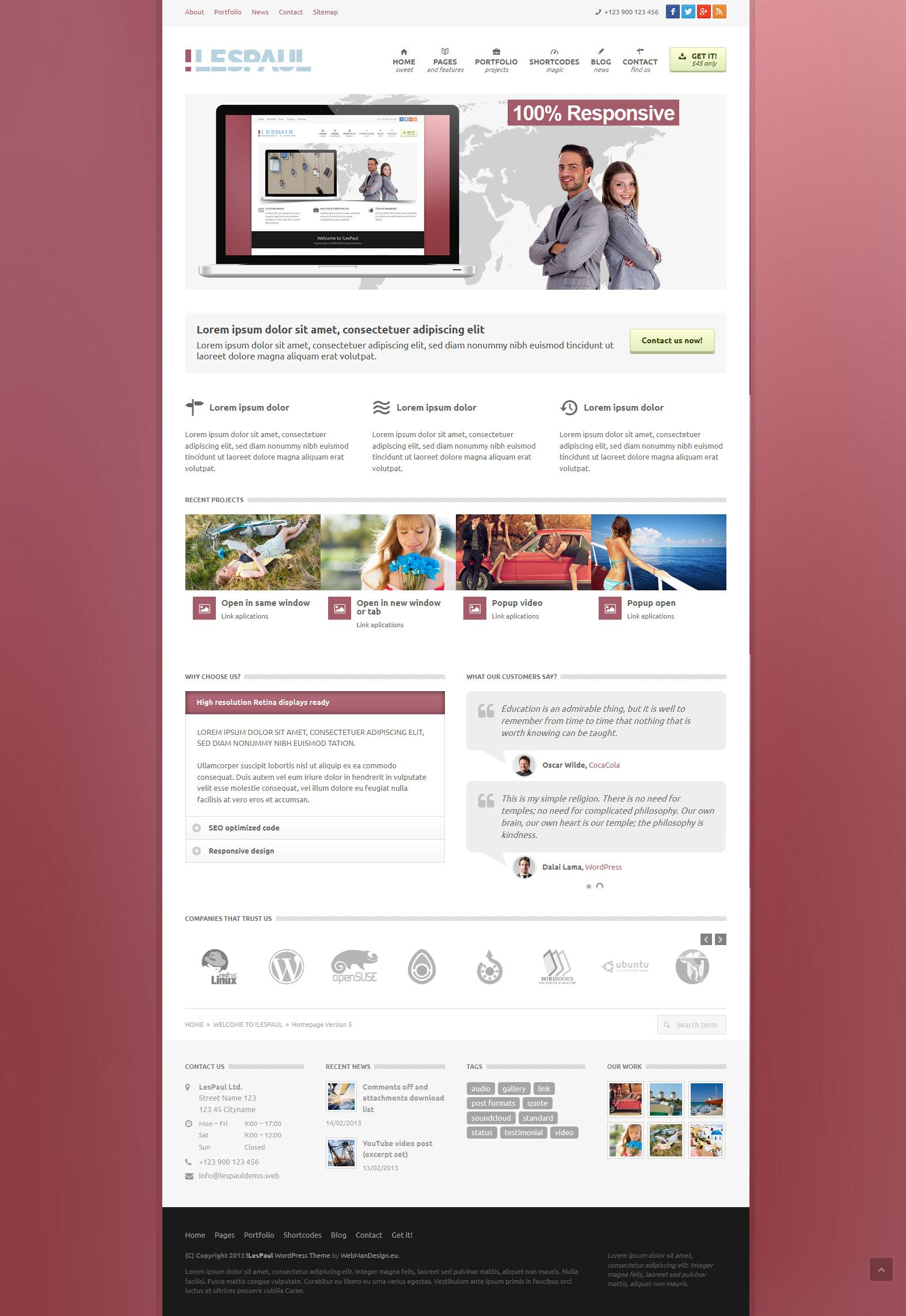 LesPaul | Responsive, Corporate, Wordpress Template | themeforest ...