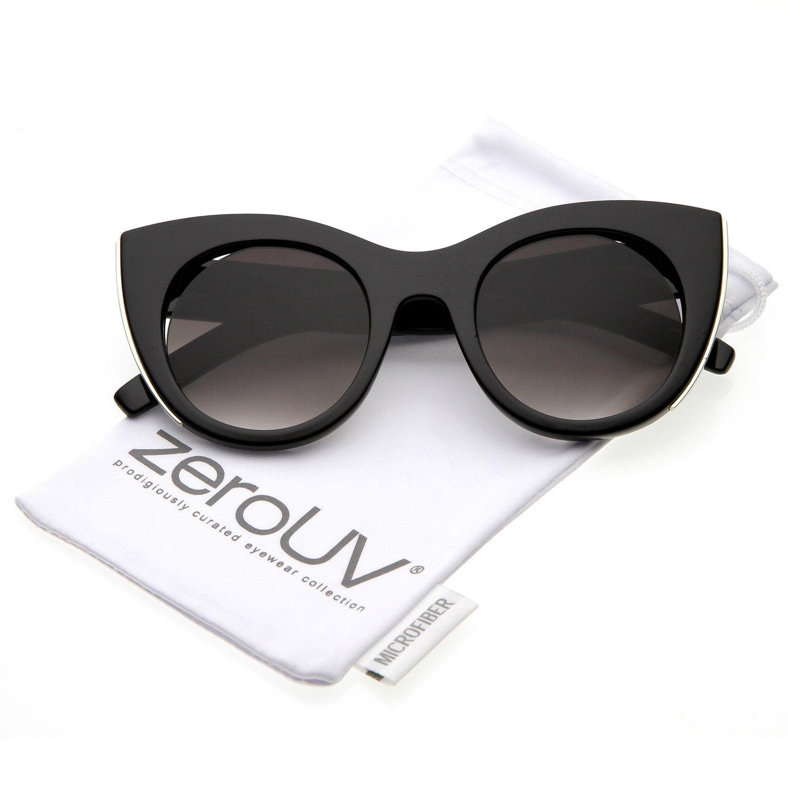 fdeedf5bfe zeroUV Womens Oversize Cat Eye Sunglasses With Metal Trim Cutouts And Round  Flat Lens 48mm Black