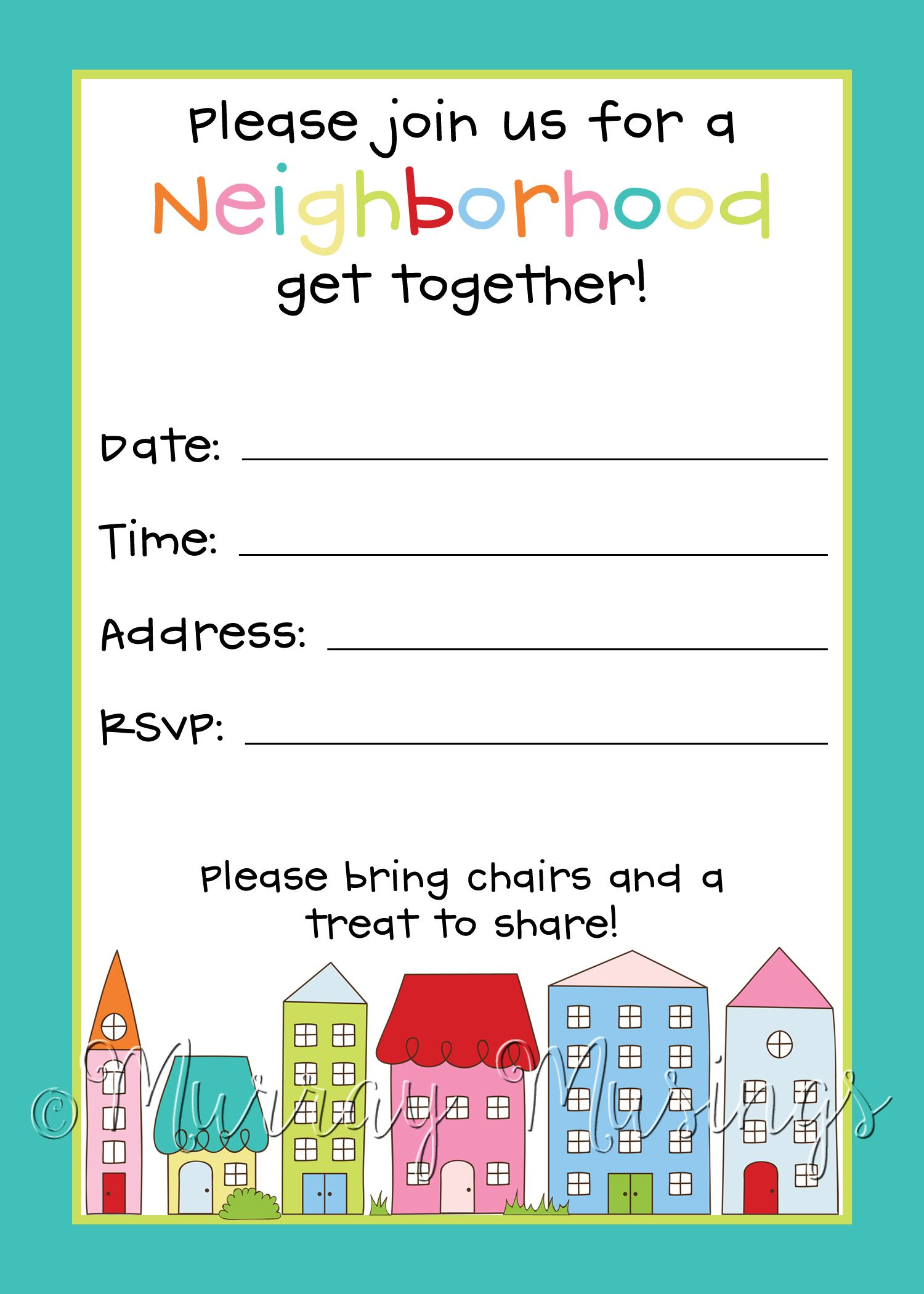 Neighborhood Block Party Invitation #freeprintable | Block Party ...