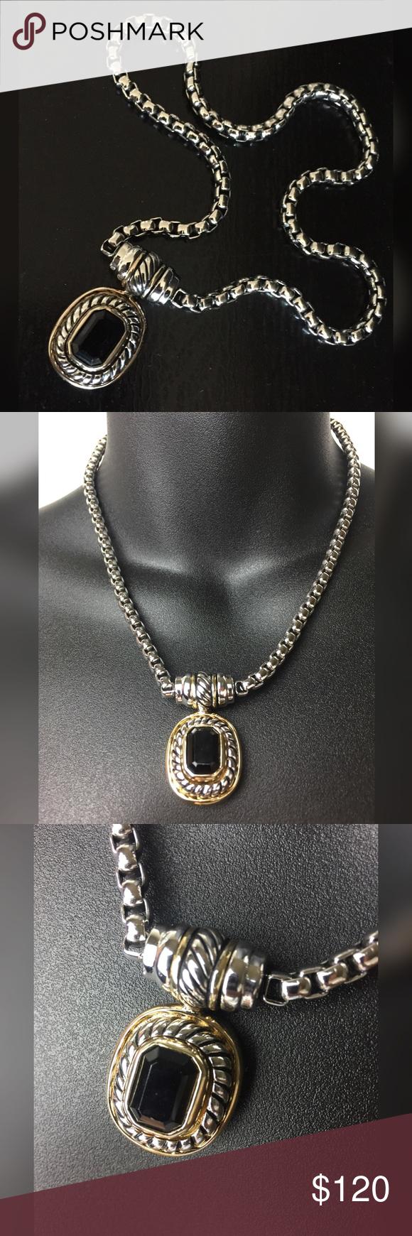 Best Vintage Estate Silver Black Onyx Pendant Necklace 400 x 300