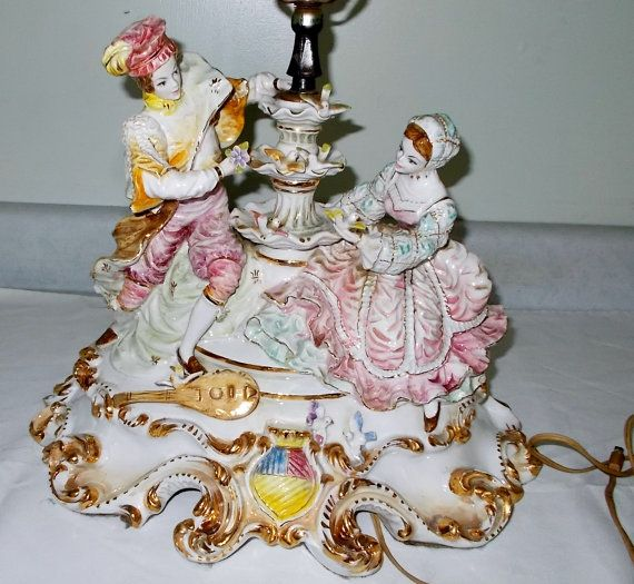 Vintage Capodimonte Figurine Table Lamp, Antique Lamps Made In Italy