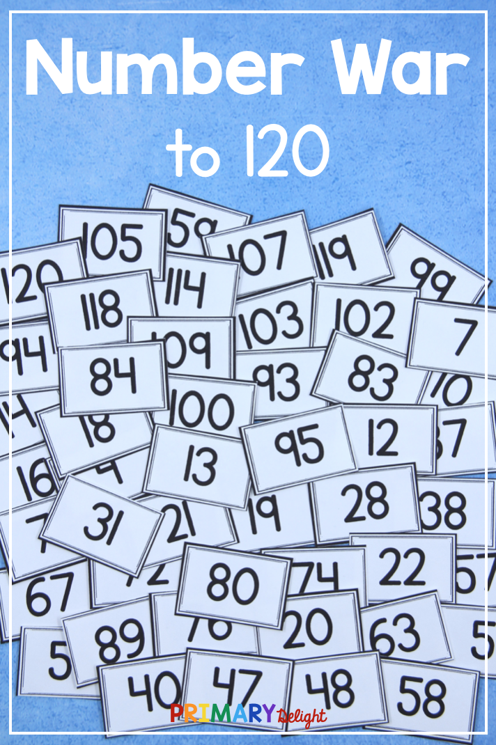 Build number sense and practice the numbers 0-120 with this fun Number War game. Kindergarten and first grade students can read the numbers and compare them. Great number practice while playing a fun game in 1st and 2nd grade! #Numbers #MathGames #TeachingNumbers #NumberSense #PrimaryDelight