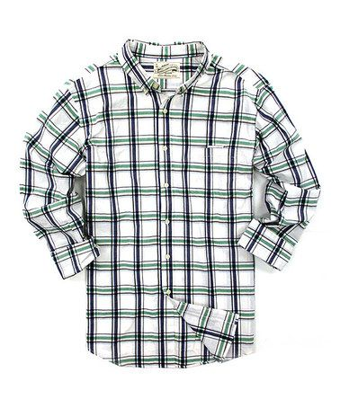 Look what I found on #zulily! Green Plaid Long-Sleeve Button-Up #zulilyfinds